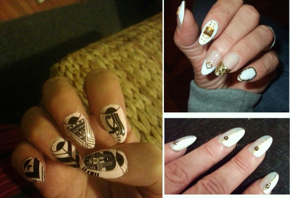Lois Nails-Malody ehsany nail wraps-Gold and white art by Yuki-Stripe nail art by Maki.jpg